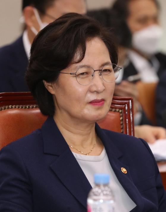 추미애 법무부 장관이 27일 국회 법사위 전체회의에 참석했다. 연합뉴스