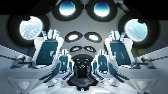 영국 민간우주탐사기업 버진 갤럭틱이 29일(현지시간) 공개한 유인 우주왕복선 '스페이스십2' 내부 이미지. 6개의 좌석이 2열로 나란히 배치됐고, 우주선 좌우, 천장에 12개의 창문이 나있다. [AP=연합뉴스]