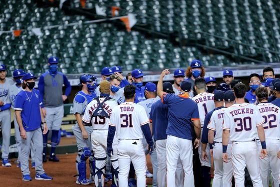 29일 휴스턴-다저스 선수들이 벤치 클리어링을 벌이고 있다. [AP=연합늇]