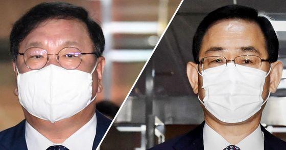 김태년 더불어민주당 원내대표(왼쪽)와 주호영 미래통합당 원내대표. 뉴스1