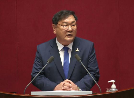 더불어민주당 김태년 원내대표가 20일 국회 본회의에서 교섭단체 대표연설하고 있다. 오종택 기자