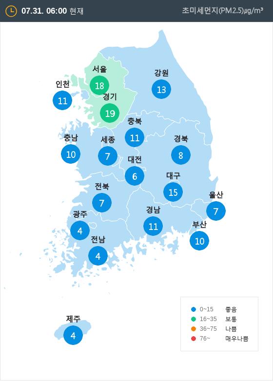 [7월 31일 PM2.5]  오전 6시 전국 초미세먼지 현황