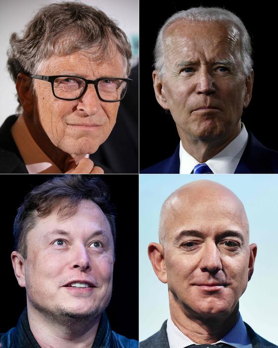 트위터 해킹 및 사칭 피해를 당한 빌 게이츠 마이크로소프트 창업자, 조 바이든 전 부통령, 제프 베이조스 아마존 CEO, 일론 머스크 테슬라 CEO (왼쪽 위부터 시계방향순) [AFF=연합뉴스]