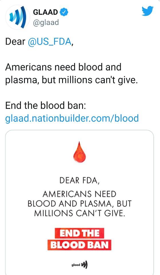 미국에서 성소수자 인권 단체가 FDA에 헌혈을 하고 싶어하지만 규정 때문에 헌혈을 못하는 수백만명이 있다는 글을 올렸다. [트위터 캡쳐 ]