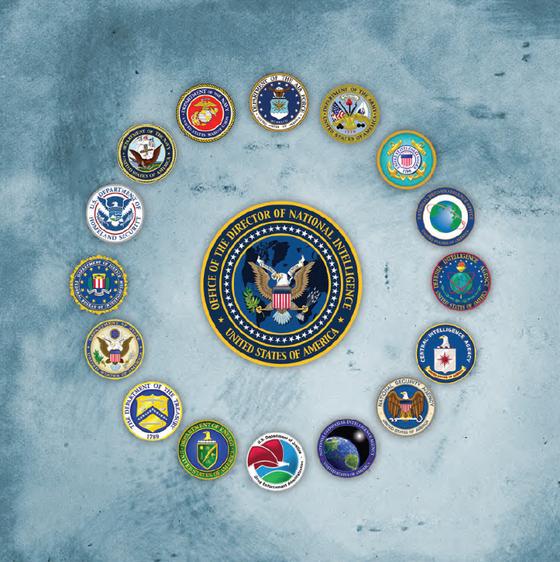 미국 국가안보국장(DNI)의 로고를 이 기관이 담당하는 16개 정보담당 기관의 로고가 둘러싸고 있는 모습이다. 관리 범위를 분명히 밝히고 있다. DNI는 2011년 9.11 테러를 막지 못한 반성으로 3년 간의 준비 끝에 2004년 발족한 정보통합기관이다. 정보 역량을 강화하고 시너지 효과를 극대화할 목적으로 이뤄진 미국 정보기관 개혁의 결과물이다. DNI 홈페이지