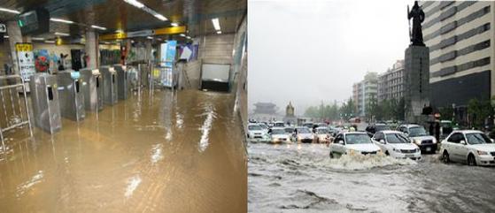 2010년 9월 21일 추석 연휴 첫날 쏟아진 비로 서울 지하철 신용산역(왼쪽)과 광화문광장 일대(오른쪽)가 물에 잠겼다. 연합뉴스