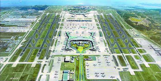 인천국제공항 제4활주로 건설과 제2여객터미널 확장을 골자로 하는 인천공항 4단계 건설사업이 본격적으로 추진된다. 오는 2024년 이 사업이 완료되면 인천공항은 연간 1억명이 넘는 여객을 수용하며 세계 3대 공항으로 발돋움할 수 있을 것으로 기대된다.   국토교통부와 인천국제공항공사는 지난해 11월 '인천공항 4단계 건설사업 기공식'을 열었다. 사진은 인천국제공항 4단계 건설사업 전체 조감도. 연합뉴스