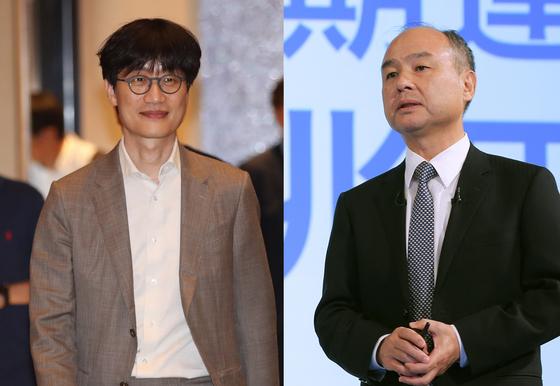 손정의 소프트뱅크회장(오른쪽)과 이해진 네이버 글로벌투자총괄. 연합뉴스