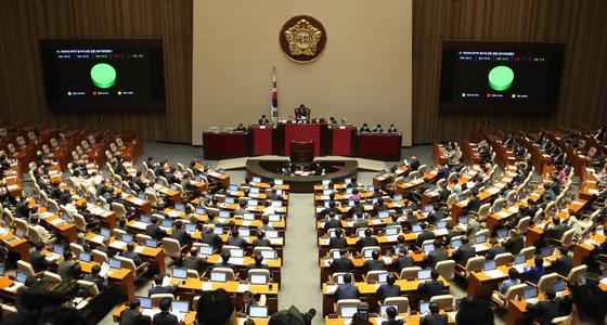 4일 오후 국회 본회의에서 '부동산 3법' 등이 통과됐다. 미래통합당은 반대 토론에 나섰으나 투표에는 참여하지 않았다. 오종택 기자