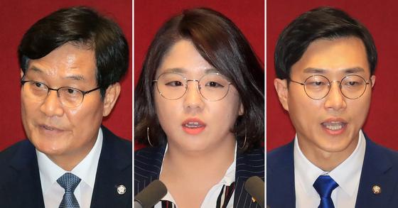 왼쪽부터 신동근 더불어민주당 의원, 용혜인 기본소득당 의원, 장경태 민주당 의원. 연합뉴스·뉴스1