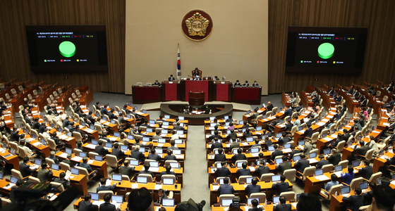 국회는 4일 오후 본회의를 열고 부동산 관련 법안 등을 통과시켰다. 미래통합당은 반대 토론에 나섰으나 투표에는 참여하지 않았다. 오종택 기자