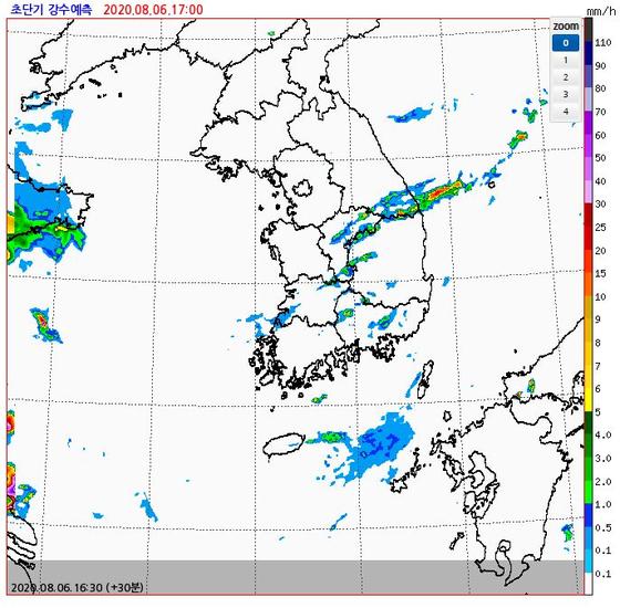 기상청 단기 강우 예측. 6일 오후 4시반에 예측한 오후 5시 상황. 기상청 제공