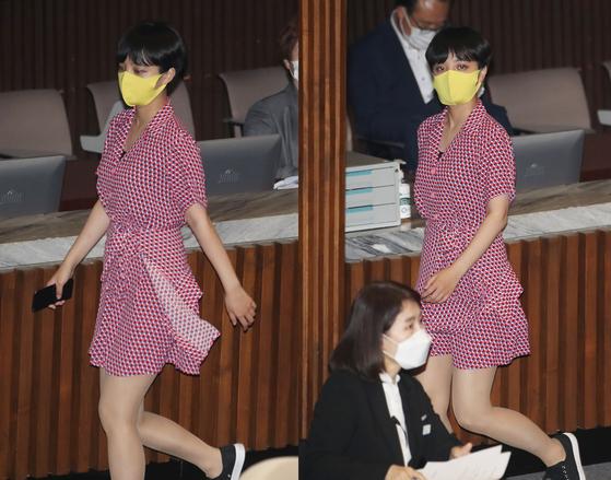류호정 정의당 의원이 지난 4일 서울 여의도 국회에서 열린 본회의에서 회의장을 나가고 있다. [뉴시스·연합뉴스]