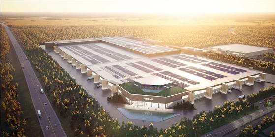 테슬라가 독일 베를린에 짓고 있는 기가팩토리 조감도. 공장이 완성되면 테슬라의 전기차, 배터리 생산능력이 크게 향상될 전망이다. 사진 테슬라