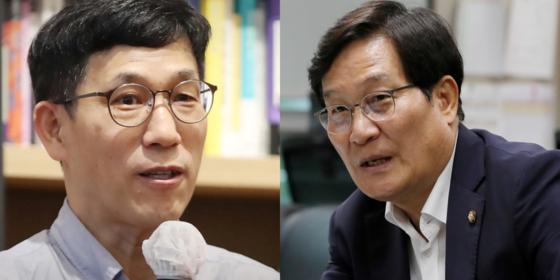 진중권 전 동양대 교수와 신동근 더불어민주당 의원 [중앙포토]