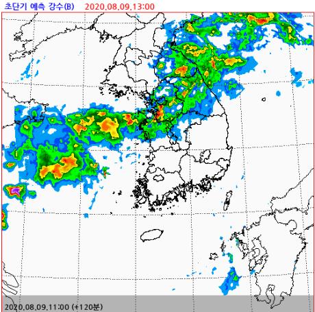 9일 중부지방에 최대 500㎜ 폭우가 예상된다. 이틀간 폭우가 이어졌던 남부지방은 잠시 소강상태에 접어들었다가, 10일부터 태풍 영향권에 들 것으로 보인다. 자료 기상청