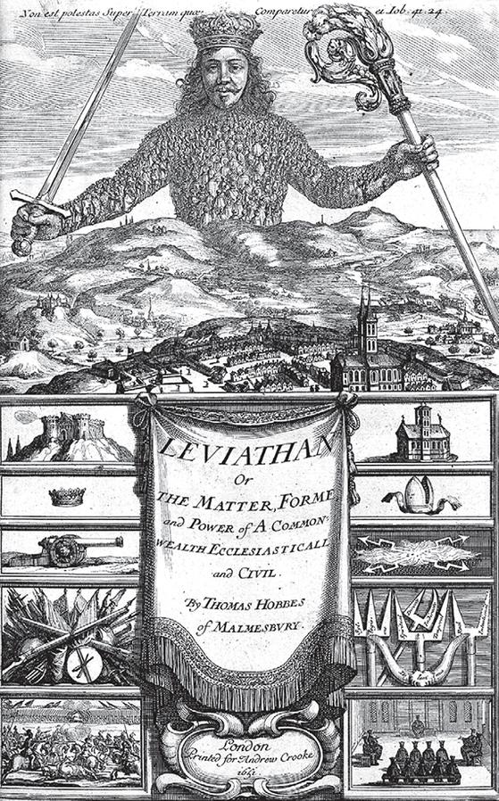 """1651년에 출판된 『리바이어던』의 표지다. 상단에 리바이어던을 묘사하는 욥기 41장 24절('그것의 가슴은 돌처럼 튼튼하며 맷돌 아래짝같이 튼튼하구나"""")이 쓰여 있다. 절대군주의 상체에는 수많은 자유로운 시민 군중이 그려져 있다. [사진 위키피디아]"""