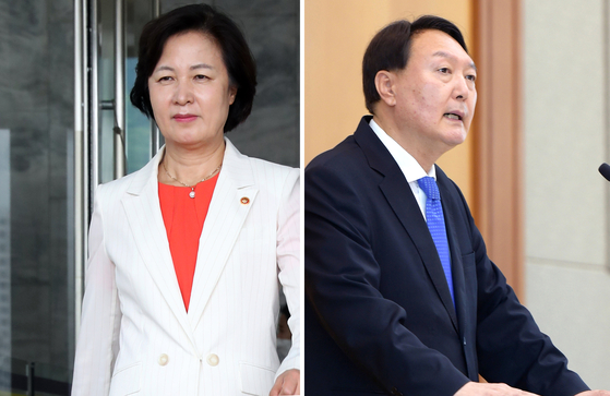 추미애 법무부 장관(왼쪽)과 윤석열 검찰총장. [연합뉴스]