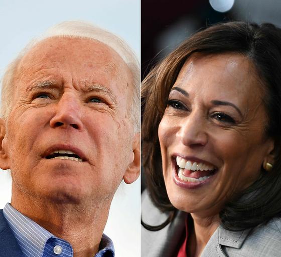 조 바이든 미국 민주당 대선 후보가 이번주 부통령 후보를 발표할 예정이다. 오른쪽은 가장 유력한 후보로 꼽히는 카말라 해리스 상원의원. [AFP=연합뉴스]