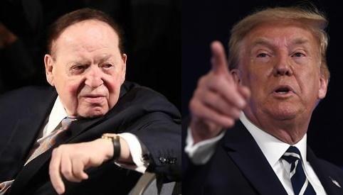 셸던 애덜슨(왼쪽)과 도널드 트럼프 미국 대통령. EPA·AP=연합뉴스