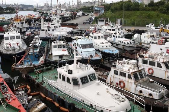 제5호 태풍 '장미'가 북상 중인 9일 오후 울산시 남구 장생포항에 선박들이 대피해 있다. [뉴스1]