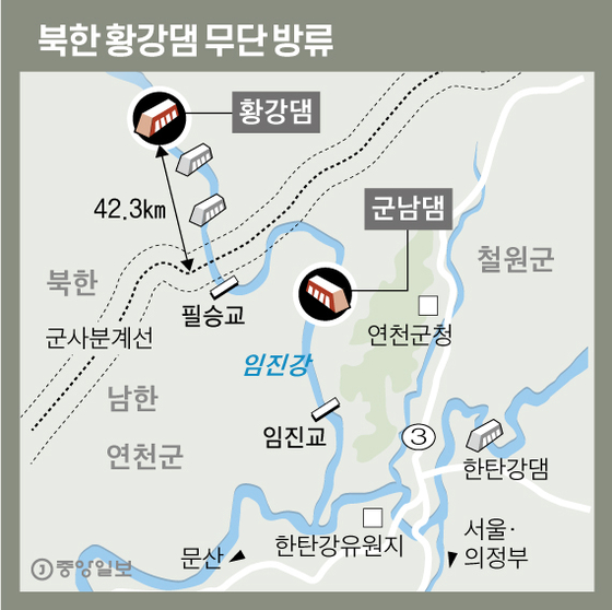 북한 황강댐 무단 방류. 그래픽=신재민 기자 shin.jaemin@joongang.co.kr