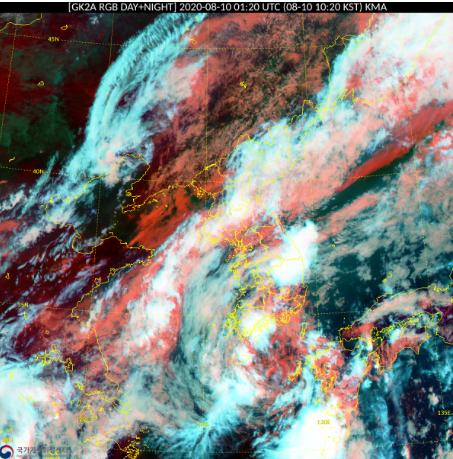 10일 오전 한반도 대부분 지역에 비구름이 두껍게 덮여 있다. 자료 기상청