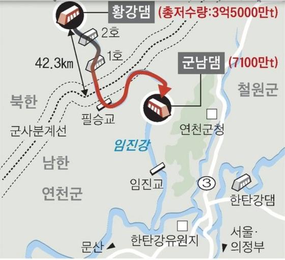 북한 황강댐 위치도. [중앙포토]