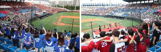 지난해 서울 양천구 목동야구장에서 열린 정기 '고연전(연고전)' 야구 경기에서 고려대(오른쪽)와 연세대 학생들이 열띤 응원을 펼치고 있다. 연합뉴스