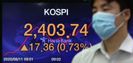코스피가 연고점 행진을 이어가고 있는 11일 오전 서울 중구 명동 하나은행 딜링룸 전광판에 코스피지수가 전일대비 17.36포인트(0.73%) 상승한 2403.74를 나타내고 있다. 뉴스1