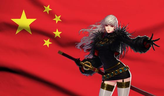 한국 게임의 중국 진출이 4년째 막혀있다. 과거 중국 진출에 성공해 현지에서 큰 인기를 끌고 있는 던전앤파이터 귀검사 캐릭터. 사진 넥슨, 그래픽=김정민 기자