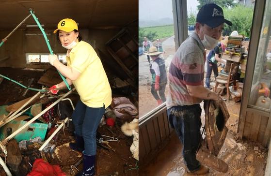 심상정(왼쪽) 정의당 대표와 태영호 미래통합당 의원이 지난 7일 수해현장에서 복구 작업을 벌이고 있다. 연합뉴스·페이스북