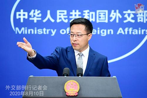 자오리젠 중국 외교부 대변인은 10일 기자회견에서 미국의 국회의원과 비정부기구(NGO) 인사 등 11명을 제재한다는 중국의 입장을 발표했다. 그러나 구체적인 제재 내용은 밝히지 않았다. [중국 외교부 홈페이지 캡처]