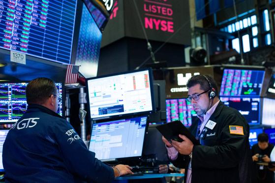 미국 뉴욕증권거래소(NYSE) 내부 모습. AFP=연합뉴스