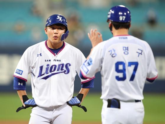 13일 대구 두산전에서 시즌 2호 홈런을 때려낸 박계범. 삼성 제공