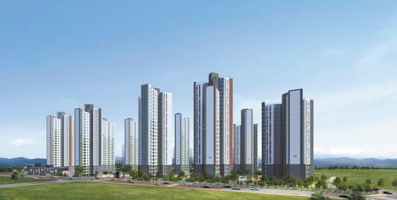 직주근접 아파트가 조기완판을 이어가고 있는 가운데 두산건설이 8월 분양예정인 행정타운 센트럴 두산위브 투시도.
