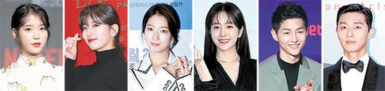 아이유, 수지, 박신혜, 한지민, 송중기, 박서준(왼쪽부터).
