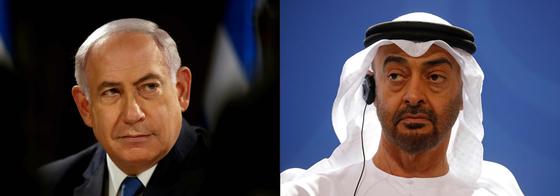 베냐민 네타냐후 이스라엘 총리(왼쪽)과 셰이크 무함마드 빈 자예드 알나흐얀 UAE 아부다비 왕세자(오른쪽). AFP=연합뉴스