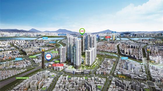 부동산 가치가 저평가된 서울 서남권에 선보이는 구로역 엔트리움 조감도. 공급가격이 합리적인 데다, 주변에 개발호재가 많아 시세차익을 기대할 수 있다는 점에서 관심을 끈다.