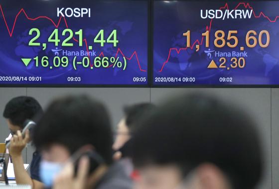 코스피가 하락세로 출발한 14일 오전 서울 하나은행 딜링룸에서 딜러들이 업무를 시작하고 있다. 연합뉴스