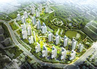 강남·판교 등 주요 업무밀집지역으로 출퇴근이 편리한 역세권 대단지 아파트인 산성역 자이푸르지오 조감도.