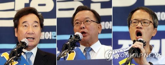 민주당 당대표에 도전한 이낙연, 김부겸, 박주민 후보(왼쪽부터). [연합뉴스]