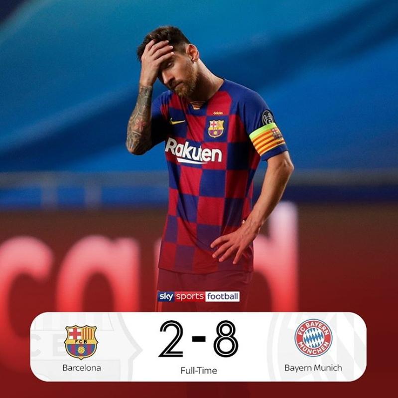 리오넬 메시의 소속팀 바르셀로나가 유럽 챔피언스리그 8강전에서 바이에른 뮌헨에 2-8 굴욕적인 패배를 당했다. [사진 스카이스포츠 인스타그램]