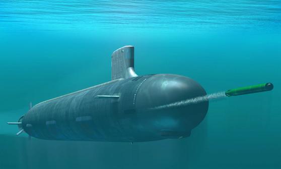 미 해군의 공격 핵잠 사우스다코타함(SSN 790)이 어뢰를 발사하는 장면의 그래픽. [스카우트닷컴]