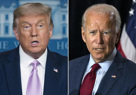 미국 대통령 선거를 79일 앞둔 16일 도널드 트럼프 대통령이 도전자인 조 바이든 민주당 대통령 후보를 많이 따라잡았다는 CNN 여론조사 결과가 발표됐다. 15개 경합주에서는 바이든 지지율 49%, 트럼프 48%로 초접전 양상이다. [AP=연합뉴스]