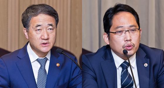 박능후(왼쪽) 보건복지부 장관과 최대집 대한의사협회 회장. 뉴스1
