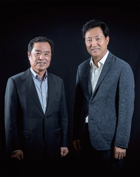 김병준 미래통합당 세종시당위원장(왼쪽)과 오세훈 전 서울시장은 행정수도 이전, 기본소득제 등의 진보 담론에 보수가 더 나은 대안을 마련해야 한다는 생각을 공유한다.