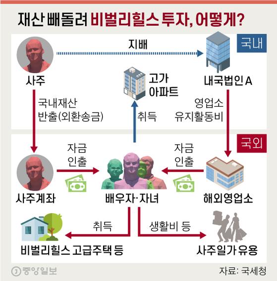 재산 빼돌려 비벌리힐스 투자, 어떻게?. 그래픽=신재민 기자 shin.jaemin@joongang.co.kr
