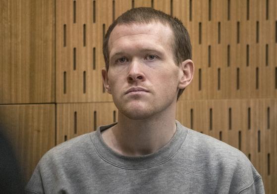 지난 2019년 3월 뉴질랜드 남섬 크라이스트처치의 이슬람 사원에서 총격사건을 일으킨 테러범 브랜턴 태런트(29)가 법정에 앉아있다. [연합뉴스]