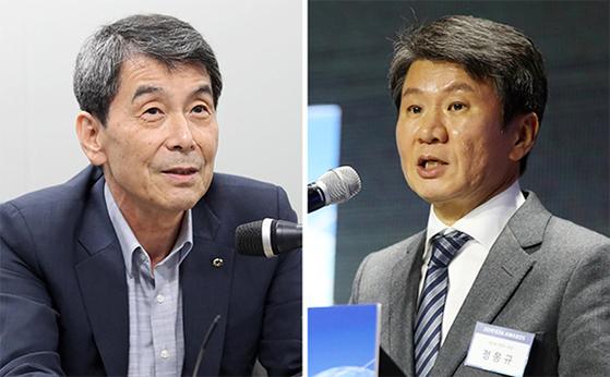 이동걸 산업은행 회장(左), 정몽규 HDC그룹 회장(右)